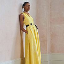 Amanda Wakeley yellow dress with black belt