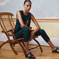 Amanda Wakeley couture with black sandals