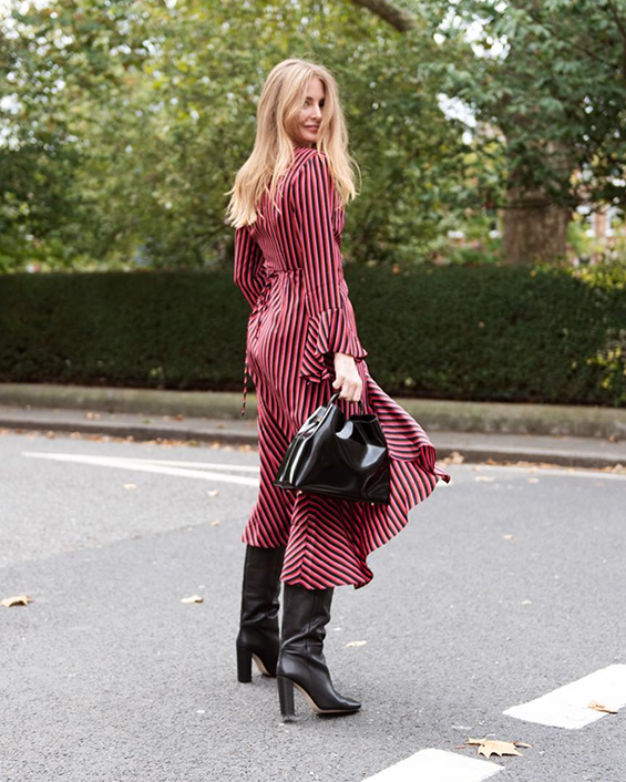 Red and black striped dress with heeled boots